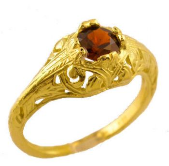 18k Yellow Gold Vintage Style Filigree .65ct Chrome Pyrope Garnet Ring