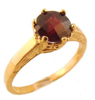 14k Yellow Gold Vintage Style Filigree 1.75ct Rhodolite Garnet Ring