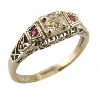 14k White Gold Art Deco Style .36ct Old European Cut Diamond & Ruby Engagement Ring