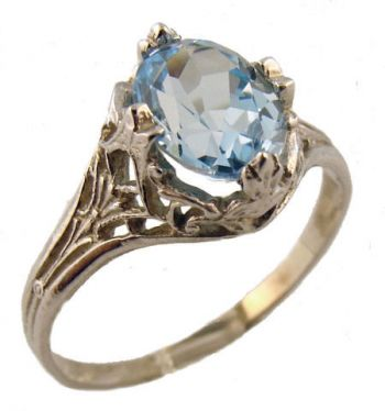 14k White Gold Vintage Style Filigree 1.60ct Oval Sky Blue Topaz Ring