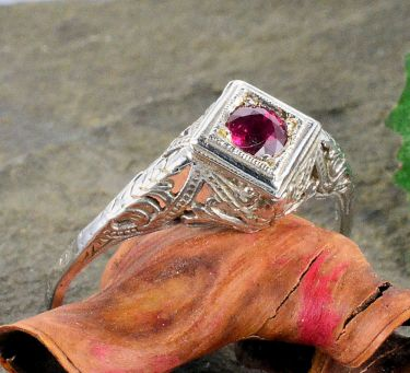 14k White Gold Antique Style Filigree .35ct Ruby Ring, Sz 10