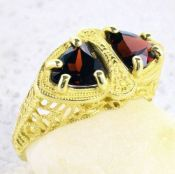 14k Yellow Gold Art Deco Style 1.80cttw Trillion Mozambique Garnet Ring