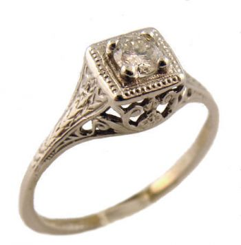 14k White Gold Vintage Style .15cttw Transitional Cut Diamond Engagement Ring