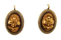 Antique Enamel Mourning Earrings - 14k Rose Gold with Black Taille d'apargne Enamel