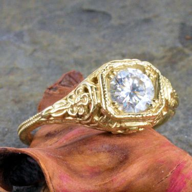 14k Yellow Gold Antique Style Filigree 63ct Moissanite Engagement Ring