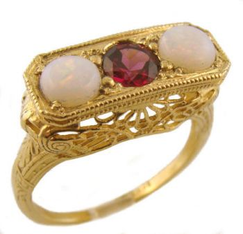 14k Yellow Gold Art Deco Style 3 Stone Filigree Opal & Rhodolite Garnet Ring