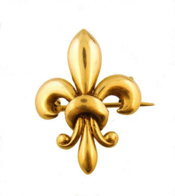 14k Yellow Gold Antique Victorian Fleur de Lis Chatelaine Pin