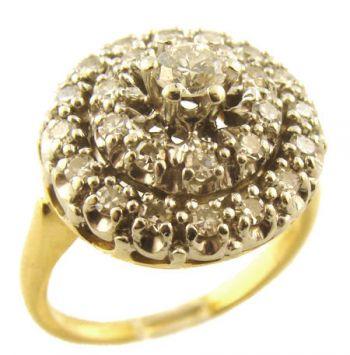 Estate 14k Two Tone Ballerina Style .75cttw Diamond Cocktail Ring