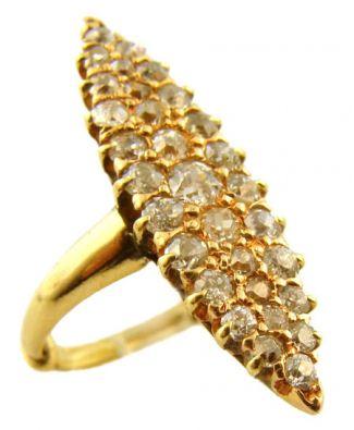 Antique 12k Rose Gold 1.00cttw European Cut Navette Diamond Ring