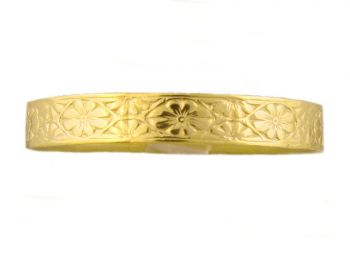 14k Yellow Gold Victorian Style 3.3mm Floral Patterned Wedding Band