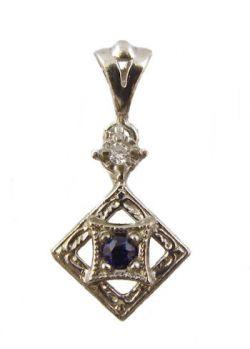 14k White Gold Art Deco Style Sapphire & Diamond Filigree Pendant