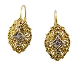 14k Two Tone Gold Vintage Style Filigree .08cttw Diamond Earrings