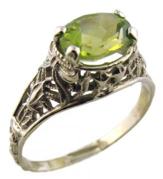14k White Gold Antique Style Filigree 1.35ct Oval Peridot Ring