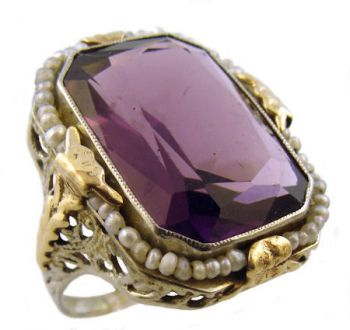 Art Deco 10k White & Yellow Gold Filigree Amethyst & Seed Pearl Ring