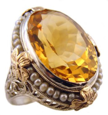 Art Deco 14k White & Yellow Gold Filigree Citrine & Seed Pearl Ring