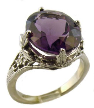 14k White Gold Antique Style Filigree 4.40ct Oval Dark Amethyst Ring
