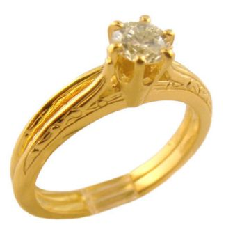 10k Yellow Gold Vintage Style .35ct Diamond Engagement Ring and Band