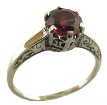14k White Gold Vintage Style Filigree 1.65ct Mozambique Garnet Ring