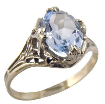 14k White Gold Vintage Style Filigree 1.60ct Oval Sky Blue Topaz Ring