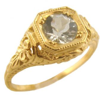 14k Yellow Gold Antique Style Forget-Me-Not Flower Filigree .60ct Aquamarine Ring
