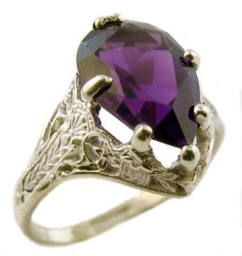 Antique Style Sterling Silver Filigree 2.70ct Pear Cut Amethyst Ring
