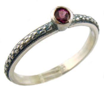 Antique Style Sterling Silver Floral Rhodolite Garnet Stack Ring