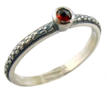 Antique Style Sterling Silver Floral Rose Cut Garnet Stack Ring