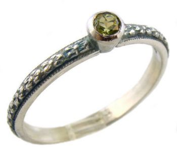 Antique Style Sterling Silver Floral Peridot Stack Ring