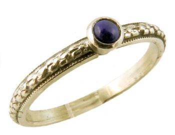 Antique Style Sterling Silver Floral Lapis Lazuli Stacking Ring
