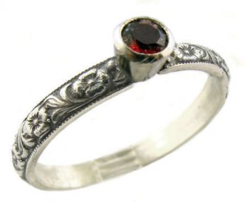 Antique Style Sterling Silver Floral Pyrope Garnet Stack Ring