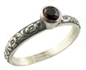 Antique Style Sterling Silver Floral Black Onyx Stack Ring