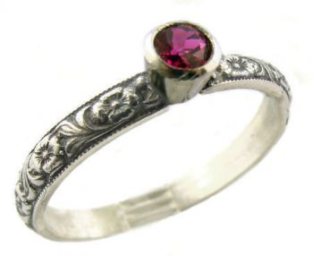 Antique Style Sterling Silver Floral Imitation Ruby Stack Ring