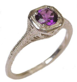 Vintage Style Sterling Silver Filigree .50ct Amethyst Ring