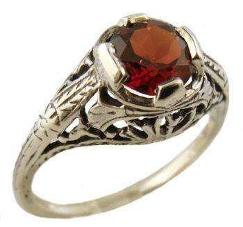 Antique Style Sterling Silver Filigree 1.10ct Mozambique Garnet Ring