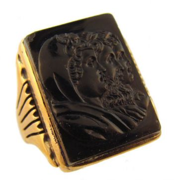 Mens 10k Rose Gold Victorian Triple Mythical Figure Onyx Cameo Ring