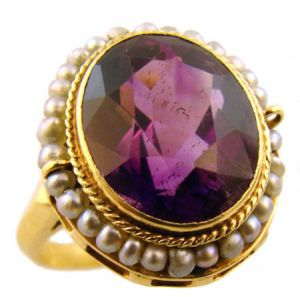 Antique 14k Yellow Gold 4.5ct Amethyst & Seed Pearl Ring