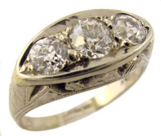 14k White Gold Antique .70cttw European Cut Diamond Engagement Ring