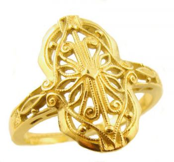 14k Yellow Gold Vintage Style Filigree Ring
