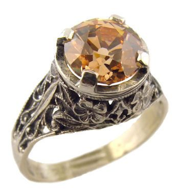 Antique Style Sterling Silver Filigree 1.25ct Champagne European Cut Cubic Zirconia Ring