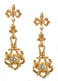 14k Yellow Gold Antique Style .20cttw Diamond Scroll Drop Earrings