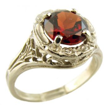 14k White Gold Antique Style Filigree 1.65ct Garnet Ring