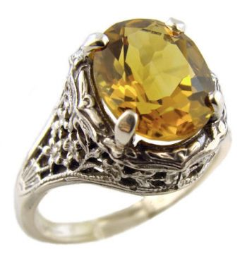 Antique Style Sterling Silver Filigree 2.45ct Oval Citrine Ring