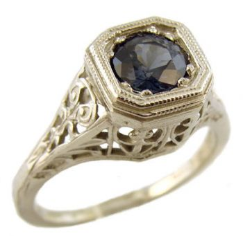 14k White Gold Antique Style Filigree .50ct Blue Spinel Ring