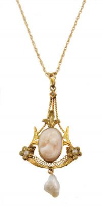 10k Tri-Gold Antique Filigree Cameo & Pearl Lavaliere Necklace