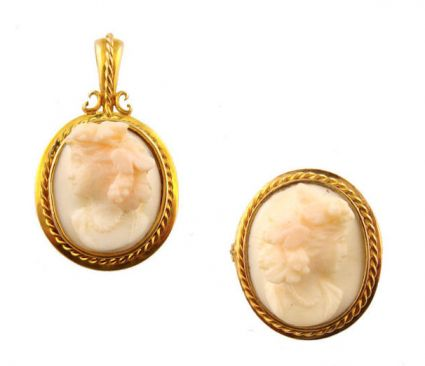 Antique 14k Pink Shell Cameo Set of Bacchantes Maiden
