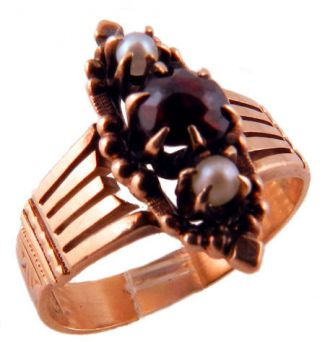 Antique 9k Rose Gold Rose Cut Garnet & Seed Pearl Ring