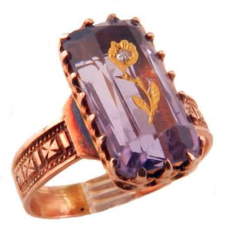 Antique 14k Rose Gold Amethyst Ring W Gold Amp Diamond