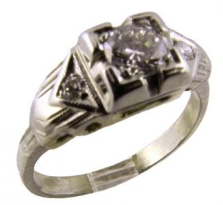 14k White Gold Art Deco Filigree .30cttw Transitional Cut Diamond Engagement Ring