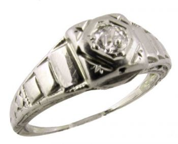 18k White Gold Art Deco .16ct European Diamond Engagement Ring