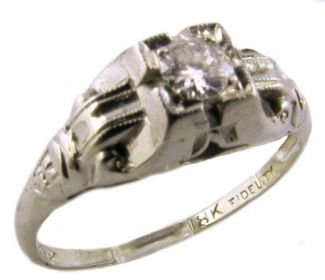 18k White Gold Art Deco .10ct Transitional Cut Diamond Engagement Ring